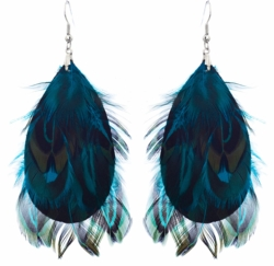 "3.5"" Feather Dangle Earrings in Blue/Green"