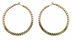 "2.15"" Pressed Twist Hoop Earrings"