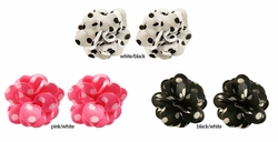 "1.15"" Polka Dot Satin Flower Earrings"