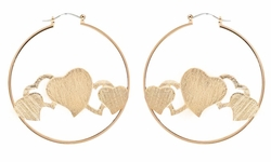 Brushed Gold Tone Heart Hoops