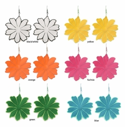 "2.15"" Enamel Flower Earrings"