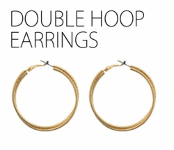 "2"" Gold Tone Double Hoop Earrings"