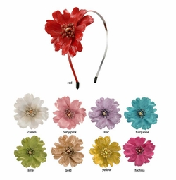 "3.5"" Embossed Soft Leatherette Flower Hair Band in Vibrant Colors"