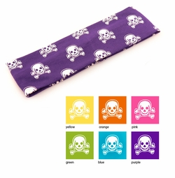Cotton Knit Headband with Skull and Crossed Bones Print