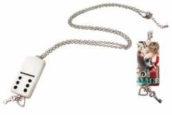 "2.5"" Steampunk Alice Domino Necklace"