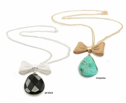 Gemstone and Bow Necklace
