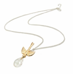 Bird and Clear Gem Necklace