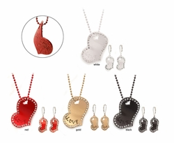 Jeweled Heart Necklace and Earrings