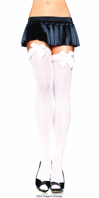 Ribbed Thigh High Stockings with Lace Ruffle and Bow