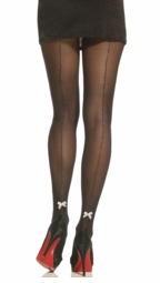 Luxe Micro Fishnet Pantyhose with Lurex Seam and Bow