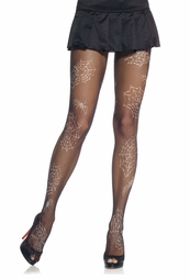 Lycra Fishnet Pantyhose with Spiderweb Print