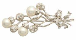 Pearl Flower Pin Broach