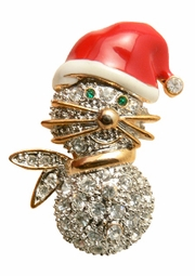 Christmas Snowman Kitty Lapel Pin Broach