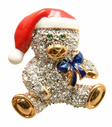 "1"" Jeweled Teddy Bear Lapel Pin"