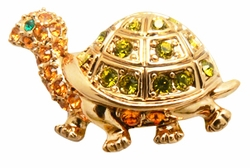 Tiny Crystal Turtle Lapel Pin Broach