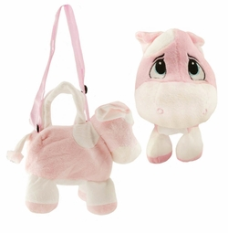 Costumes-Plush Pink Cow Handbag