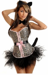 Pin-Up Kitten Corset Costume with Cat-Ears, Choker, Tail and Skirt
