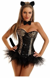 Burlesque Corset Kitty Costume with Ears, Choker, Tail and Skirt