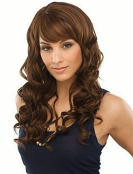 Long Bouncy Curls Human Hair Blend Wig
