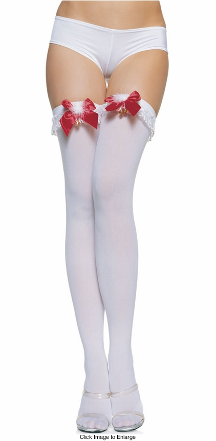 Opaque Thigh Highs with Ruffle Top, Bow and Jingle Bell