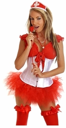 Waist Cincher Nurse Costume with Hat, Top, Skirt and Stethoscope