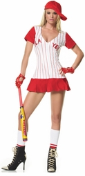 Sexy Baseball Player Costume in White and Red