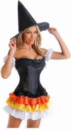 Corset Candy Corn Witch Costume with Skirt, Arm Puffs and Hat