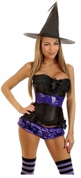 Ravishing Witch Corset Costume with Shorts, Belt, Hat and Stockings