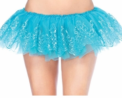 "9"" Long Glitter Filigree Tutu Petticoat in Turquoise"