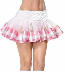 "11"" Long White/Pink Satin Trimmed Petticoat"
