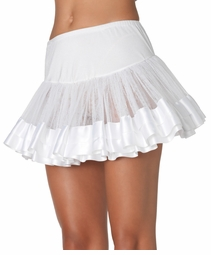 "11"" Long White Satin Trimmed Petticoat"