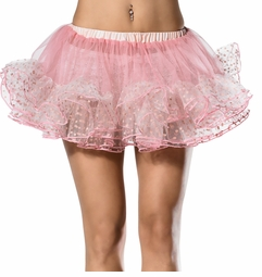 "12"" Long Polka Dot Trim Petticoat in Pink"