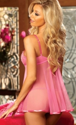 Heart Embroidered Babydoll with G-string