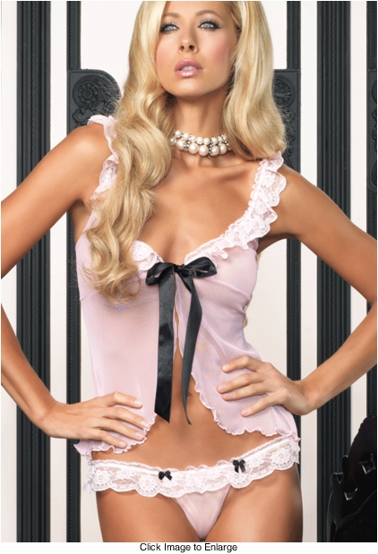 Mesh & Lace Sexy Babydoll Lingerie with Ribbon Tie & Thong