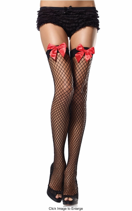Industrial Net Thigh High Stockings with Satin Bow