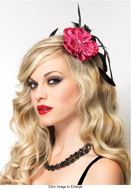 Pink Flower and Feather Accents Fascinator