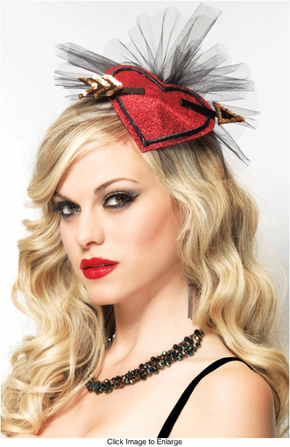 Glitter Heart Fascinator Burlesque Mini Hat