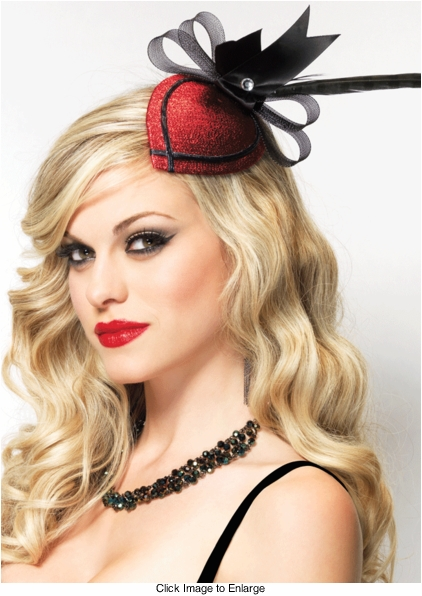 Retro Burlesque Fascinator Hair Clip with Feather and Bow