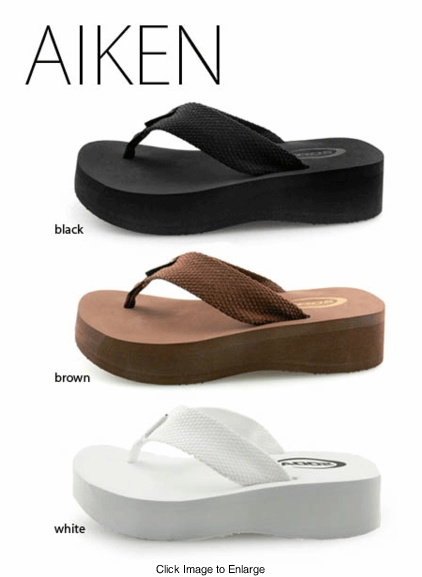 "1.75"" Platform Flip Flops (available in White, Black and Brown)"