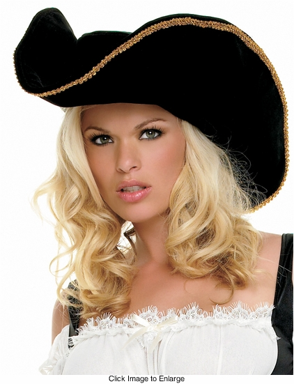 Gold Trim Velvet Pirate Hat