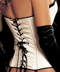 Reese Satin Tuxedo Corset with G-string