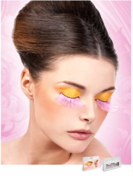 Long Pink Lashes with Silver Holographic Lurex
