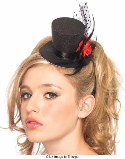 Clip On Glitter Hat with Mesh, Rose and Feathers