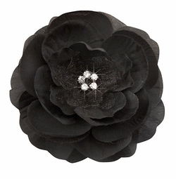 "3.5"" Luxe Silk and Chiffon Black Flower Hair Clip for Crystal Center"