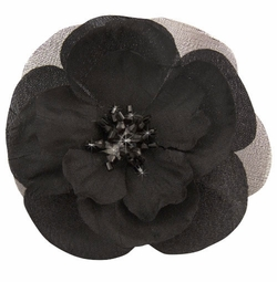 "3"" Black Flower Hair Clip with Crystal Center"