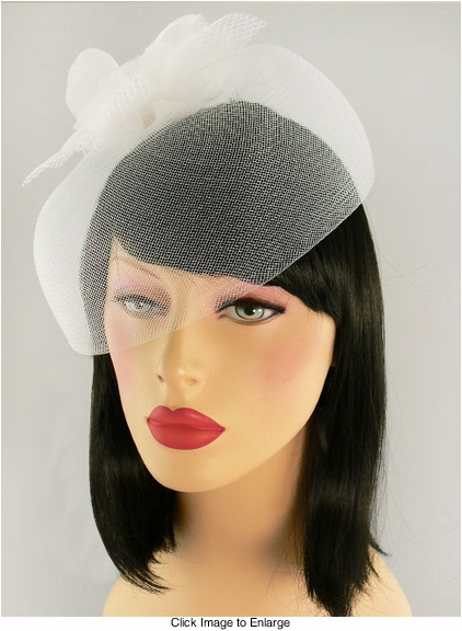 Mesh and Flower White Retro Hat