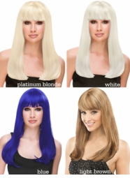 Long Straight Wig With Full Bangs in White, Platinum Blonde or Blue
