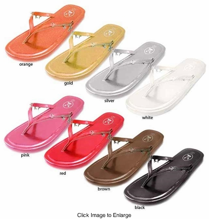 Cute Flip Flops with Charms in Vibrant Metallic Colors