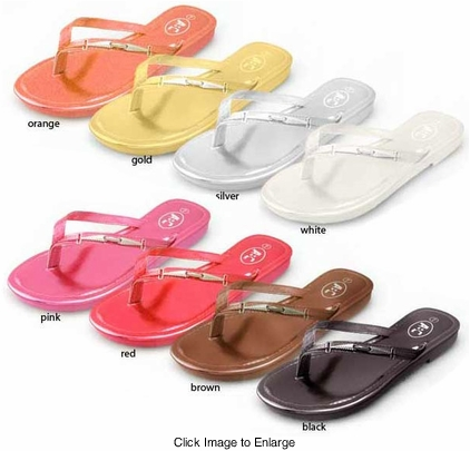 Metallic Flip Flops in Vibrant Colors
