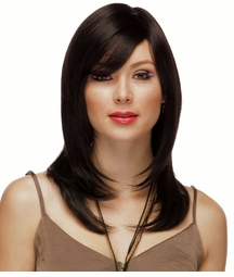 Long Layered Human Hair Blend Wig